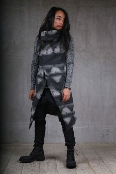 画像9: incarnation / インカネーション / 31772-2200 WOOL 90% PA 10% WIDE NECK LONG VEST LINED (9)