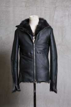 画像2: incarnation / インカネーション /  31791-4690 SHEEP SHEARLING HIGH NECK ZIP BLOUSON SPIRAL ARM (2)