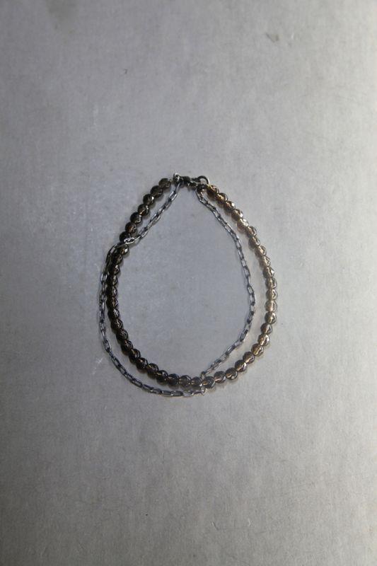 """画像1: OP-011  """"GRAIN""""  /  4mm 32面カット天然石+シルバーチェーンブレスレット (1)"""